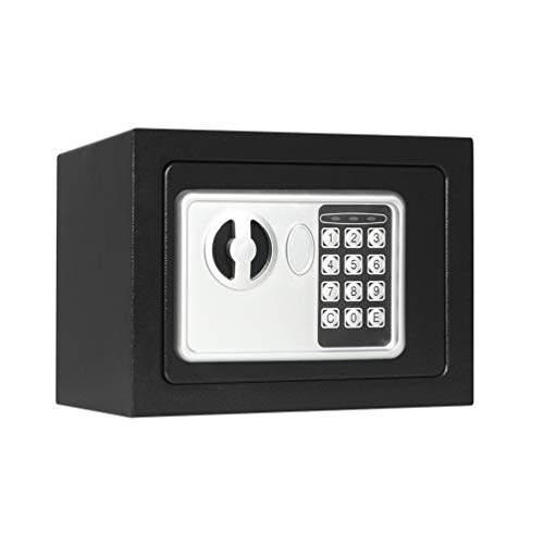 Lovndi Electronic Security Safe Box, 0.17 Cubic Feet Digital Deposit Box for Home Office Hotel Business, Lock Box for Cash Jewelry Storage, Black