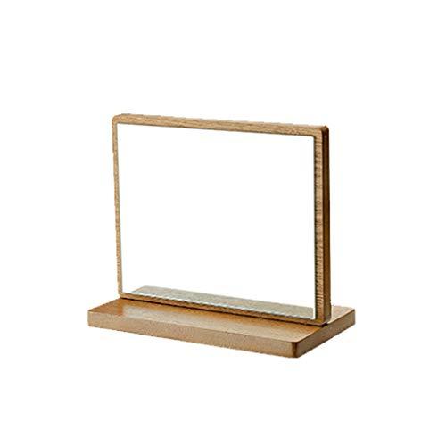 C-J-Xin - Espejo de escritorio de madera maciza, para dormitorio o dormitorio o habitación de maquillaje portátil de 90 ° espejo plegable
