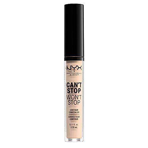 NYX Professional Makeup Correttore Can't Stop Won't Stop, Correttore Viso Liquido, Adatto a Tutti gli Incarnati, Light Ivory, Confezione da 1