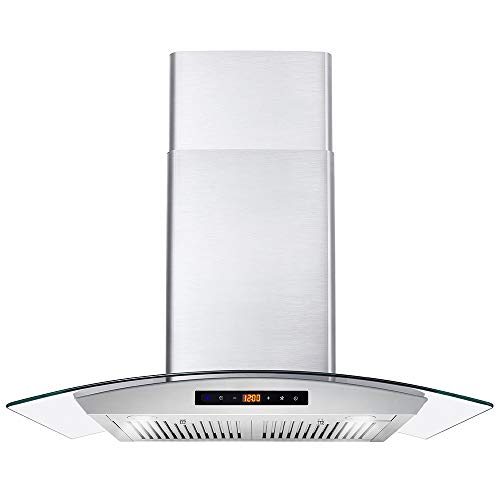 Cosmo 668WRCS75 30 in. Wall Mount Range Hood with 760 CFM, Ducted Exhaust Vent, 3 Speed Fan, Soft Touch Controls, Tempered Glass, Permanent Filters in Stainless Steel, 30 inches