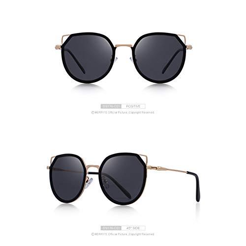 SKCLBOOS Gafas de Sol Gafas de Sol polarizadas de Moda para Mujer Gafas de Sol graduadas Metal Templo 100% Protección UV S6176