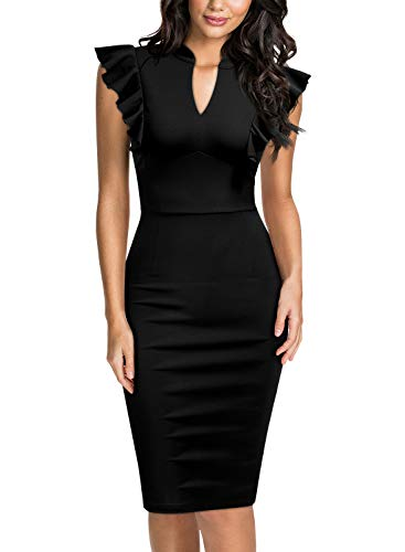 Knitee Women's Vintage Ruffle Sleeve V-Neck Bodycon Evening Party Cocktail Pencil Sheath Dress Black