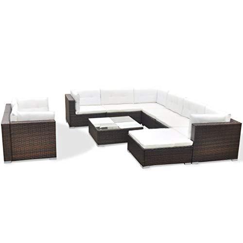 vidaXL Conjunto de Muebles de Jardín 10 Piezas Ratán Sintético Marrón Juego Comedor Exterior Mesa y Sillas Patio Porche Terraza Material Estilo Mimbre