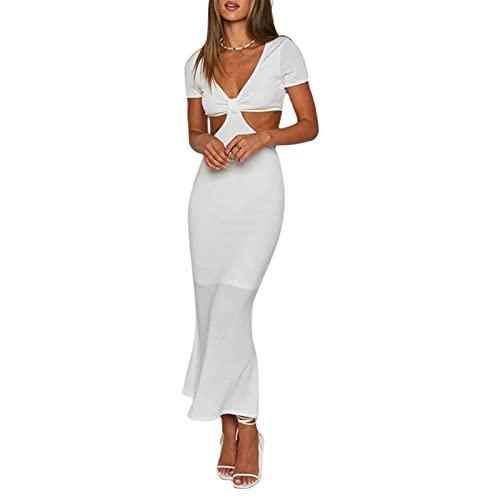 Vestido de noche para mujer, largo, elegante, de ceremonia con cuello en V, sexy, de manga corta, ajustado, de color liso, tallas XS a XXL Color blanco. L