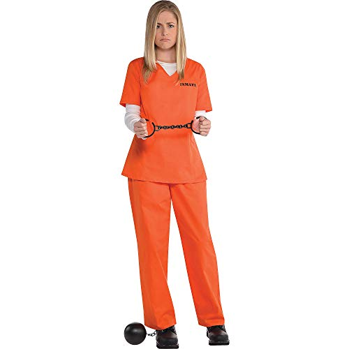 amscan 845522-55 Gefangenes Hemd und Hose für Erwachsene – Standard – 1 Stück, schwarz/orange, Medium/Large