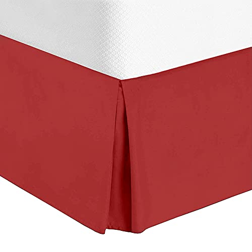 Rockfields Bettlaken, Volant, Plissee, 40 cm, einfarbig, einfarbig, pflegeleicht, knitterarm, Exta weich, Luxus-Hotel-Qualität, Polycotton-Bettwäsche, Größen (Rot – Einzelbett)