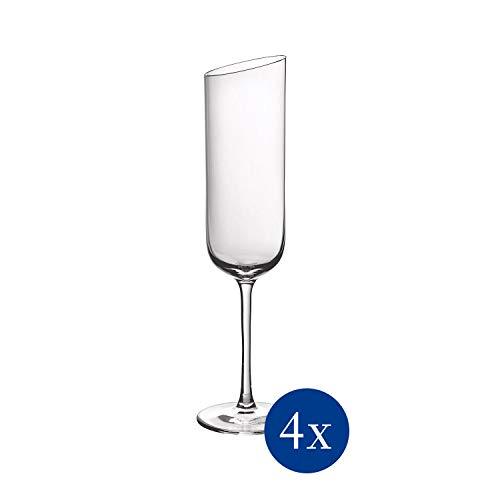 Villeroy & Boch 11-3653-8130 NewMoon Sektkelch Set, 4tlg, Elegante, modern geschnittene Sektgläser, Kristallglas, klar, spülmaschinengeeignet