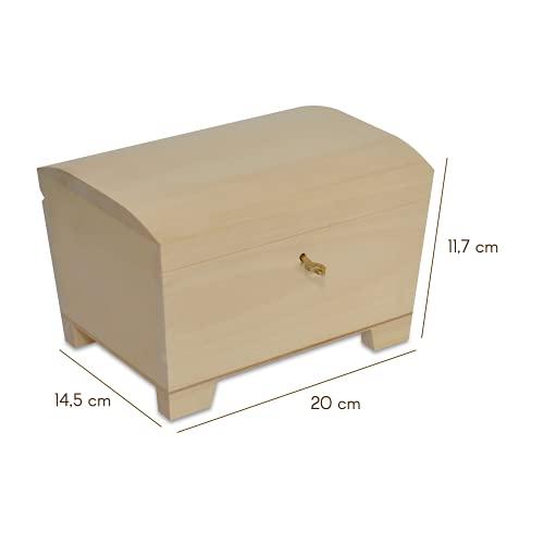 Creative Deco Große Holz-Kiste mit Deckel, Schloss und Schlüssel für Schmuck-Stücke   20 x 14 x 12,5 cm   Abschließbare Holz-Box für kleine Gegenständen   Perfekt für Aufbewahrung und Dekoration - 3