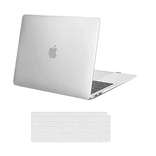 MOSISO Compatible with MacBook Air 13 inch Case 2020 2019 2018 Release A2337 M1 A2179 A1932 Retina Display with Touch ID, Protective Plastic Hard Shell Case & Keyboard Cover Skin, Frost