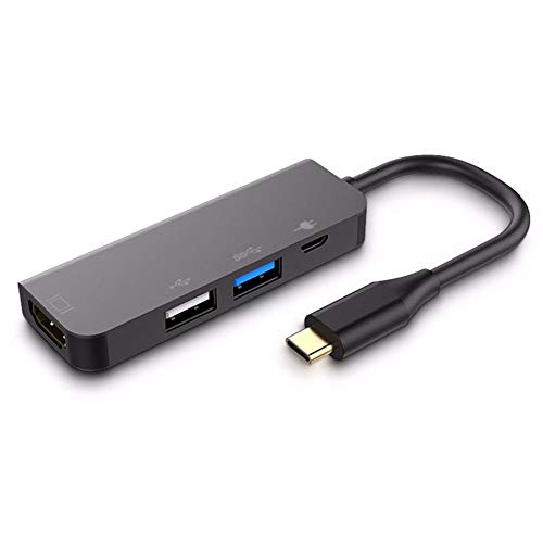 Aluminio USB Type-C 7in1 Hub Adapter 4K HDMI Card Reader USB 3.0 87W PD, Gris
