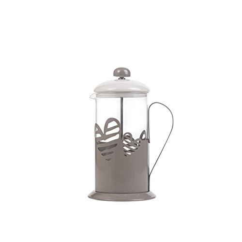 Brandani 55927, Tisaniera Batticuore, in vetro e metallo, avorio/tortora, capacita' di 600 ml