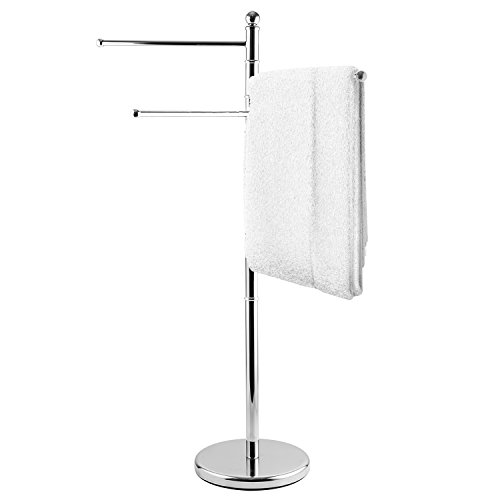 MyGift 40-Inch Freestanding Metal Bathroom Towel/Kitchen Towel Rack Stand with 3 Swivel Arms