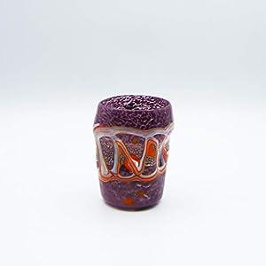 Vaso estilo: boceto, morado de cristal de Murano abierto a mano, envuelto con manchas y hilos opacos fundidos en su interior. Original Murano Glass. Fabricado en Italia.