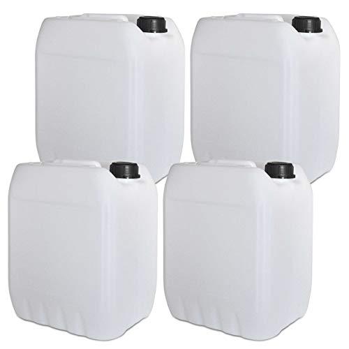 4 x 10L Getränke- Wasserkanister Natur | Lebensmittelecht | Hergestellt in DE | UN-Zulassung | Tragbar | Indoor und Outdoor | BPA Frei