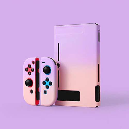 Xpccj Carcasa rígida protectora para Nintendo Switch Joy Con para consola de juegos NS Switch, color morado y rosa