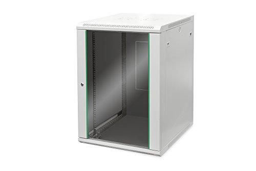 DIGITUS Netzwerk-Schrank 19 zoll 16 HE - Wandmontage - 600 mm Tiefe - Traglast 60 kg - Dynamic Basic - Glastür - Grau