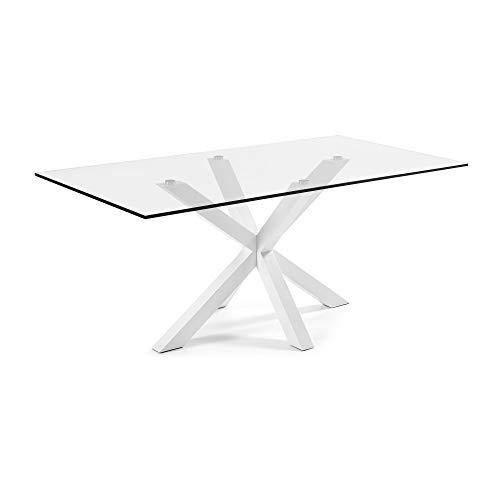 Kave Home - Mesa de Comedor Rectangular Argo 200 cm con sobre de Cristal Transparente y Patas de Acero con Acabado Blanco
