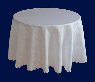Ilkadim Damast Tischdecke 120 cm rund Weiß aus 100% Polyester Bügelfrei und Flecken abweisend (Größen auswählbar)
