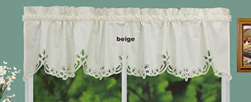 Creative Linens Battenburg Lace Kitchen Curtain Valance Ecru Beige