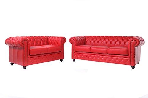 The Chesterfield Brand - Conjunto Sofás Chester Rojo - 2/3 plazas - Hecho Artesanal en Cuero Natural
