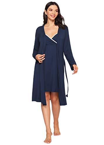 Latuza Women's Bamboo Viscose Nursing Nightgown and Robe Set M Navy