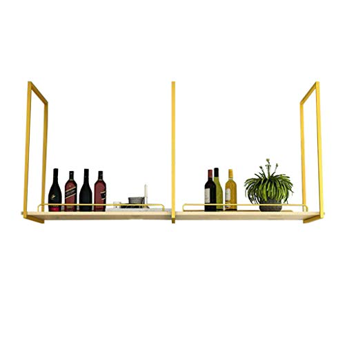 Hanging Wine Rack with Safety Railing | Metal Ceiling Bar Wine Rack | 1-Layer Industrial Wall Hanging Suspended Floating Shelves Decoration [Gold,Black]
