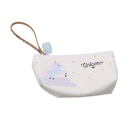 EJY Licorne Portable Sac de Rangement Imperméable, Sac à Cosmétiques Sac à main Porte-monnaie (Blanc laiteux)