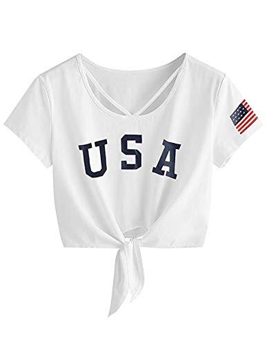 Siennaa Crop Tops Damen Sommer, Teenager Mädchen Mode USA Flagge Gedruckt Bauchfrei Oberteile Brief Drucken Sport Casual Blusen Shirt Hemd Frauen Kurzarm T-Shirts Tops Pullover Sale (D-Weiß, S)