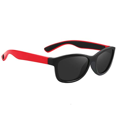 Gafas De Sol para Niños, TR90 Súper Ligero Marco, Adecuado para Correr, Al Aire Libre, Andar En Bicicleta, Chico Chica,Rojo