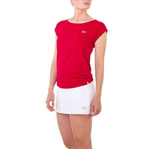 Sportkind Mädchen & Damen Tennis, Fitness, Sport T-Shirt Loose Fit, atmungsaktiv, UV-Schutz UPF 50+, Kurzarm, Bordeaux rot, Gr. M
