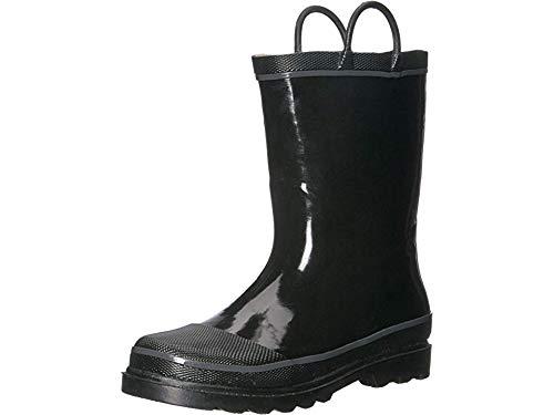 Western Chief Kids Waterproof Rubber Classic Rain Boot with Pull Handles, Black, 4 M US Big Kid