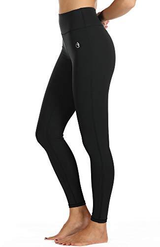 icyzone Damen Leggings Lang Sport Yoga Hose - Hohe Taille Training Tights Gym Pants Laufhose (S, Black)