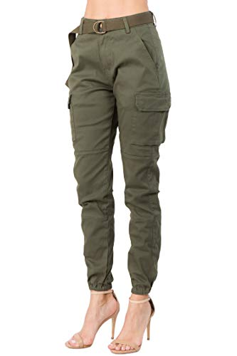 TwiinSisters Women's High Waist Slim Fit Color Cargo Joggers Pants with Matching Belt - Small, Olive