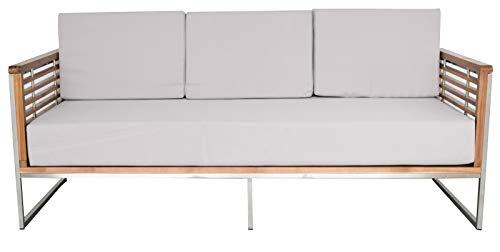 Jet-Line Gartenmöbel Gartensofa Loungesofa 3-Sitzer Sofa für Gartensets Artemis, Akazienholz - Edelstahl Outdoor Indoor Modern Lounge