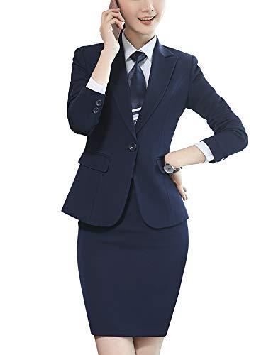 LISUEYNE Traje Formal de Dos Piezas para Mujer, Blazer de Negocios, sólido, un botón, para Oficina, Trabajo, Chamarra, pantalón y Falda, Bb20-blueqz, XL