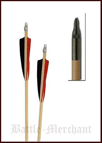 Battle-Merchant Flecha Hecha a Mano 32', 11/32, con Punta de latón y Plumas Naturales, 5 Pulgadas, Shield, Flecha Medieval de Arco Largo, Negro/Amarillo/Amarillo, Talla única