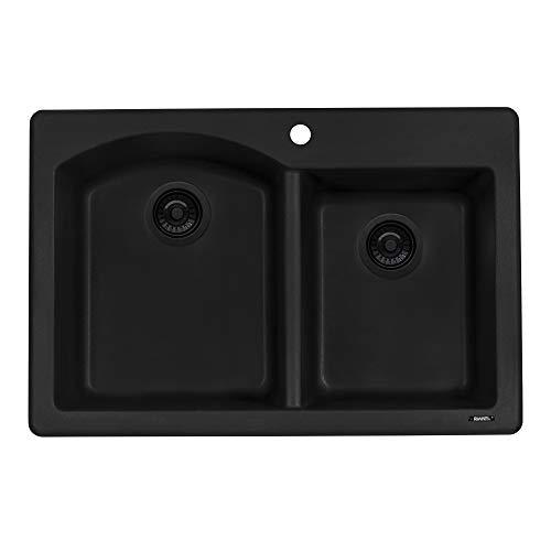 Ruvati 33 x 22 inch Dual-Mount Granite Composite Double Bowl Kitchen Sink - Midnight Black -...