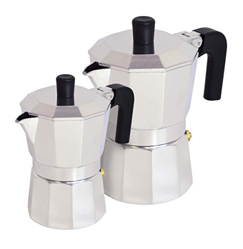 Pintinox Set 2 Caffettiera Moka 1 Tz-3 Tz Modello Capri in Alluminio, Manico Antiscottatura e Forme che Consentono una Perfetta Estrazione del Caffè