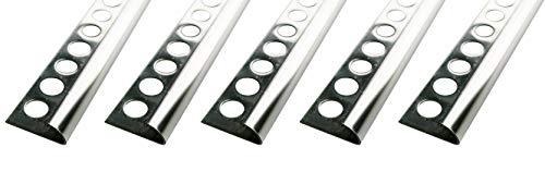 25 METER 250cm Schiene kein Verdrehen m/öglich 1mm St/ärke H/öhe: 10mm PREMIUM FUCHS Fliesenschiene Viertelkreisprofil Edelstahl V2A Gl/änzend