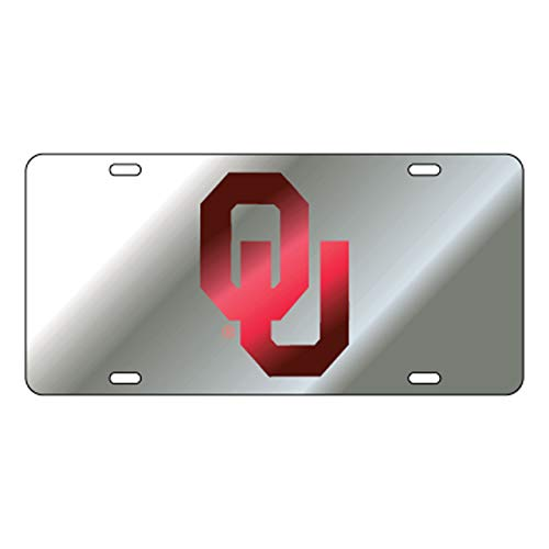 Craftique OU OKLAHOMA SOONERS Silver Mirrored License Plate Tag
