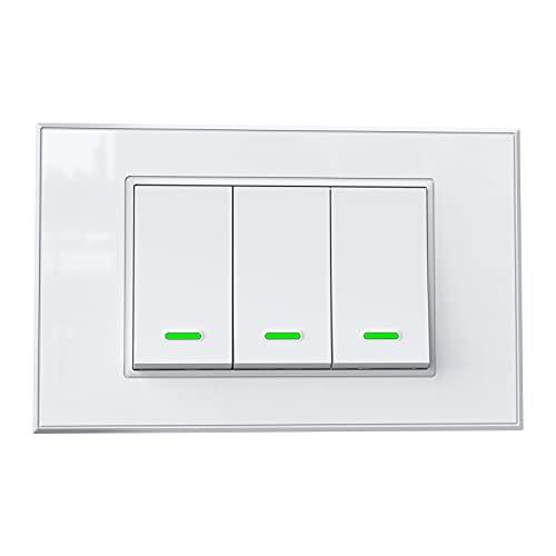 Interruttore Wifi Domotica Interruttore Smart App Controllo Remoto Compatibile con Amazon Alexa Google Home SmartThings(3 Gang)