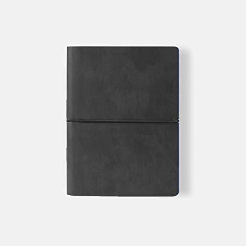 Ciak Tagebuch / Notizbuch mit Ledereinband, groß, Schwarz / cremefarben