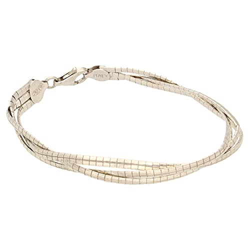 Jollys Jewellers Pulsera tejida de plata de ley de 19 cm para mujer (8 mm de ancho)