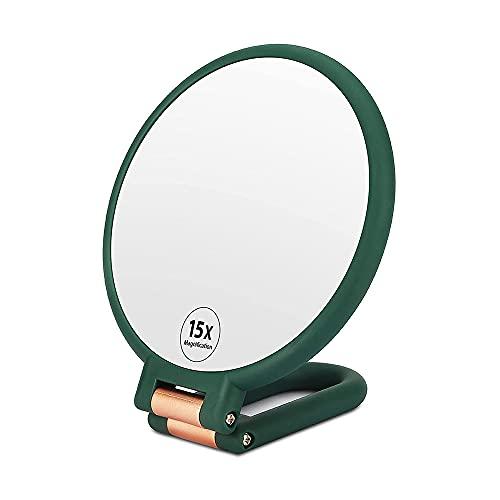 Kaimeilai Miroir à Main Maquillage Double Face, 15X Grossissant Miroir de Poche Miroir Grossissant à Main pour Le Maquillage pour Application de Maquillage, épilation et Retrait des Points Moirs