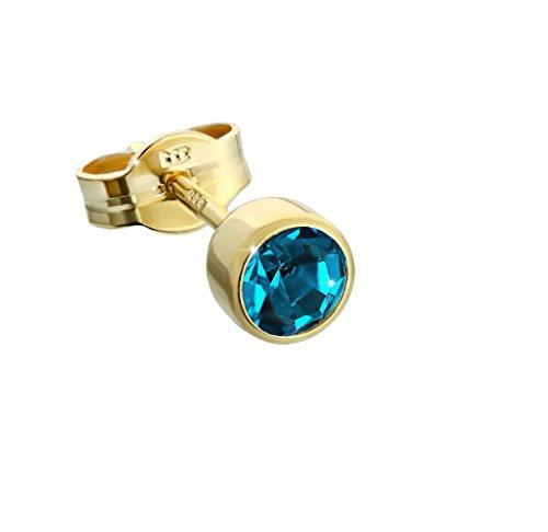 NKlaus orecchino singolo oro 333er 4,50mm turchese zirconi donne donne uomini bambini 6600