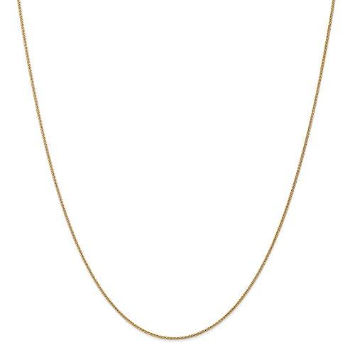 Diamond2deal 14K giallo oro 1mm solido spiga catena collana 50,8cm