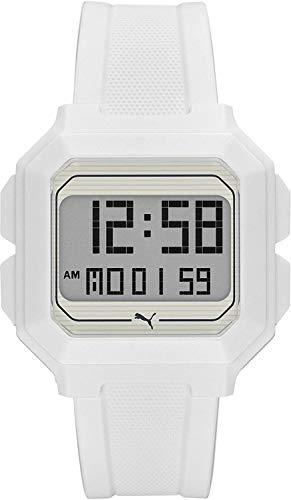 PUMA Remix LCD Reloj para Hombre de Poliuretano Blanco P5018
