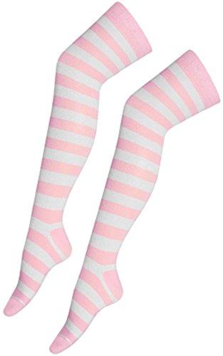 Crazy Chick Women Stripe Over The Knee Socks Thigh High Girls Stretchy OTK Socks Fancy Dress (Baby Pink & White)