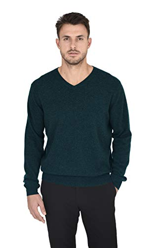 Cashmeren Men's Essentials Knit V-Neck Sweater Cashmere Wool Long Sleeve Classic Pullover (Moss, Large)