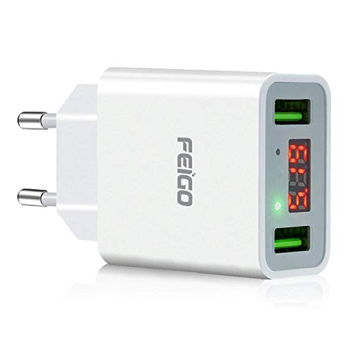 FEIGO USB Ladegerat 2 Port 5V22A Wand Charger Netzteil mit LED Digitaler Anzeige USEU Reise Stecker fur Galaxy S7EdgeS8S9Plus iPhone 678PlusX BluetoothTragbar Gerate Weis